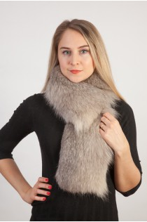 Grey fox fur scarf-collar